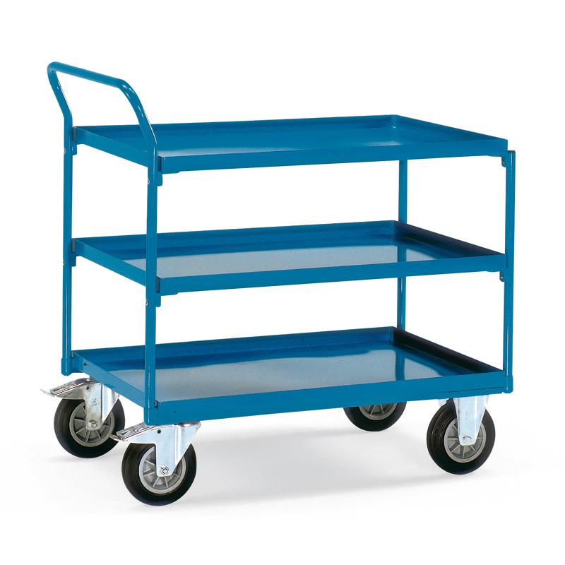Tischwagen fetra® mit 3 Stahlblechwannen + senkrechter Bügel. Tragkraft 400kg
