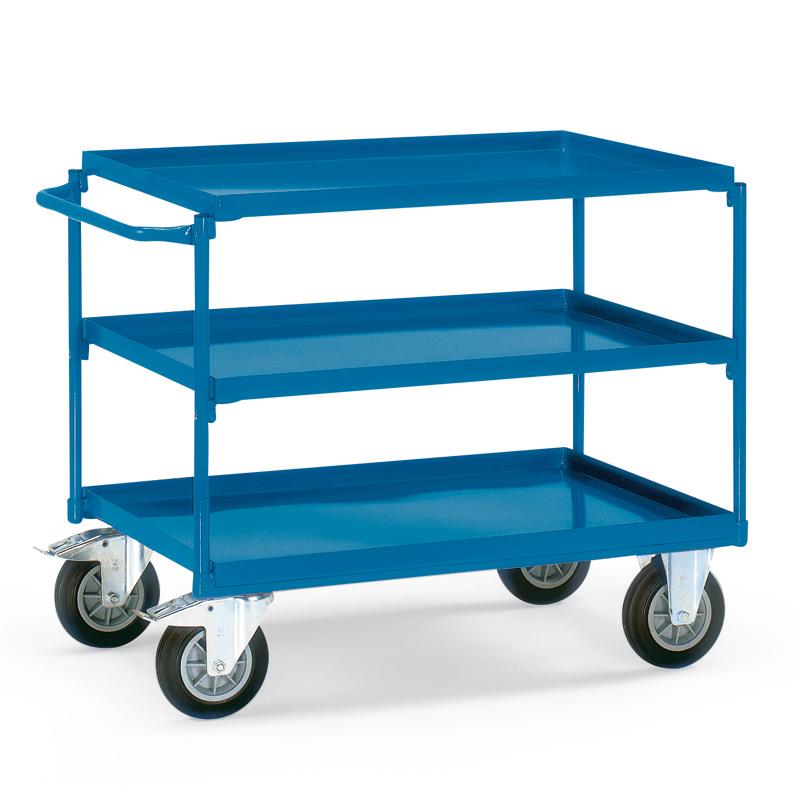 Tischwagen fetra® mit 3 Stahlblechwannen + waagerechter Bügel. Tragkraft 400kg