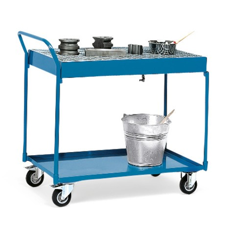 Tischwagen fetra® mit öldichten Wannen, Gitterrost und Ablaufhahn