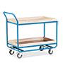 Tischwagen mit 2 Holzböden á 101 x 61 cm, mit Stahlleiste