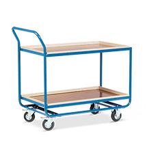 Tischwagen mit 2 Holzböden á 101 x 61cm, mit Buche-Leiste, Leistenhöhe cm: 7,5