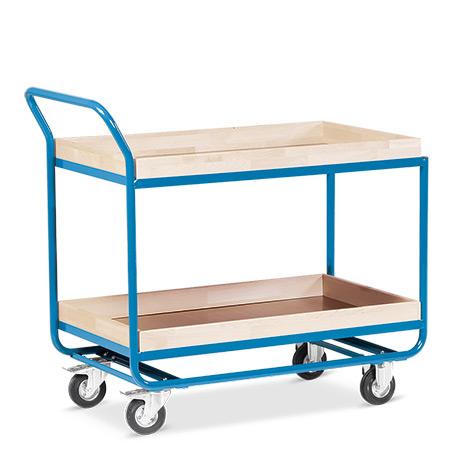 Tischwagen mit 2 Holzböden á 81 x 51 cm, mit Stahlleiste