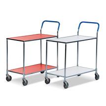 Tischwagen mit 2 Holzböden in rot oder weiß. Tragkraft 150 kg