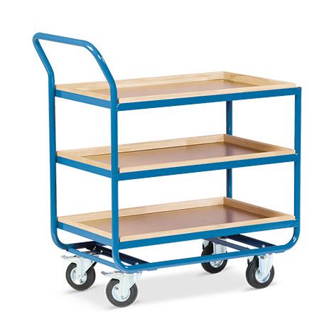 Tischwagen mit 3 Holzböden á 101 x 61 cm, mit Buche-Leiste, Leistenhöhe cm: 3