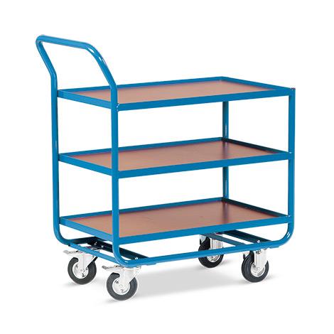 Tischwagen mit 3 Holzböden á 101 x 61 cm, mit Stahlleiste
