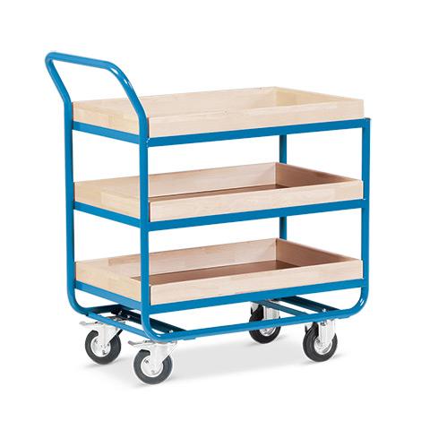 Tischwagen mit 3 Holzböden á 81 x 51 cm, mit Buche-Leiste, Leistenhöhe cm: 3