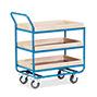 Tischwagen mit 3 Holzböden á 81 x 51 cm, mit Stahlleiste