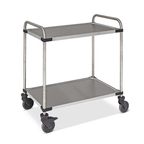 Tischwagen Rieber® aus Edelstahl. Mit 2 Etagen. Tragkraft bis 120 kg