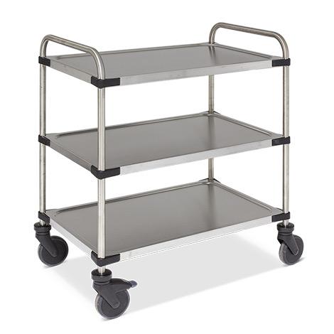 Tischwagen Rieber® aus Edelstahl. Mit 3 Etagen. Tragkraft bis 120 kg