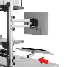 Toetsenbord en muislade met scharnierende arm voor verpakkingstafelsysteem