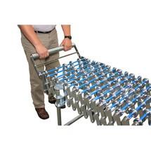Tope de extremo para transportador de rodillos de tijera, plegable