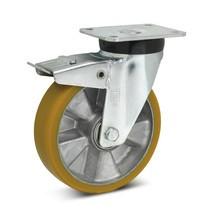 Topthane® polyurethaan zwenkwielen Premium m. voorlopende vastzetrem. 360-700kg