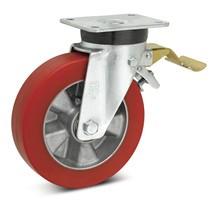 Topthane® soft polyurethaan zwenkwielen Premium. Nalop. vastzetr., 270 - 700 kg