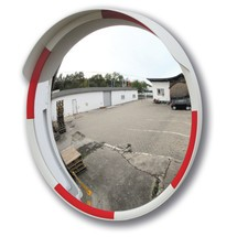 Traffic mirror with articulated bracket
