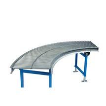Transportador de rodillos pequeños, rodillos tubulares de acero, curva de 45°