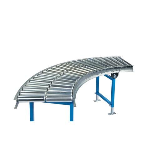 Transportador de rolos Light, rolos tubulares de aço, curva de 45°
