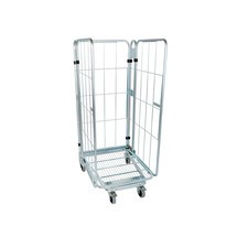 Transportní vozík, 3stranný, ocelové dno, možnost vkládání vozíků do sebe