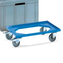Transportroller fetra® aus Kunststoff für Eurokästen, Tragkraft 250kg, 610x410mm