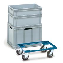 Transportroller fetra® aus Stahl für Eurokästen, Tragkraft 250kg, 610x410mm