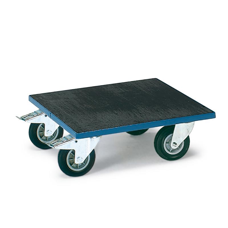 Transportroller fetra® mit Holzplattform mit Riefengummi, Tragkraft 400kg
