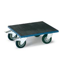 Transportroller mit Holzplattform mit Riefengummi bespannt, Tragkraft 400 kg