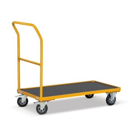 Transportwagen met duwbeugel Ameise®, meloengeel, capaciteit 500 kg