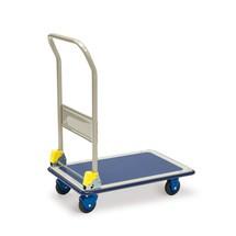 Transportwagen, versterkt laadvlak van plaatstaal, met duwbeugel