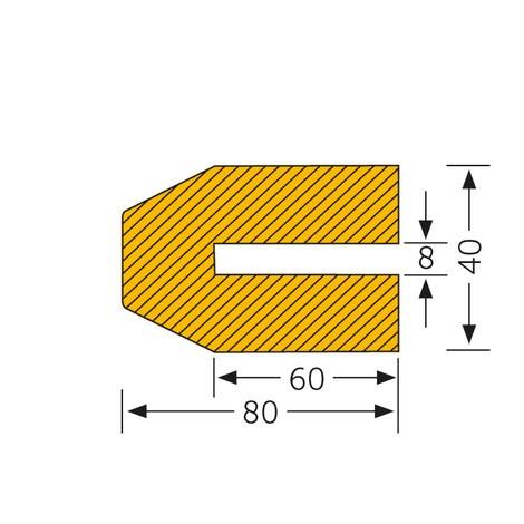 Trapez-formet profilbeskyttelse, til stikmontering, dyb