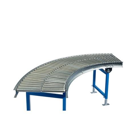 Trasportatore a rullini, rulli in acciaio tubolare, curva da 45°