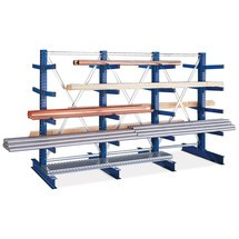 Travée auxiliaire rayonnage Cantilever META, bilatéral, capacité de charge jusqu'à 430 kg