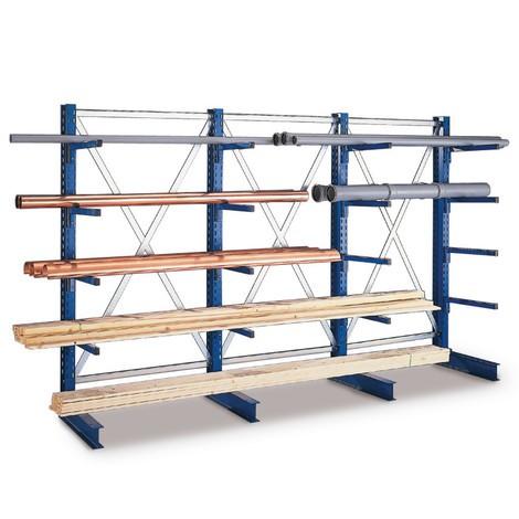 Travée auxiliaire rayonnage Cantilever META, bilatéral, charge par travée jusqu'à 3 500 kg