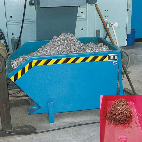 Trenn-Kippbehälter mit Lochblechboden, Tragkraft 750 kg, Volumen 0,3 m³, lackier