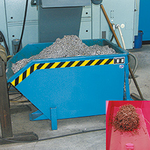 Trenn-Kippbehälter mit Lochblechboden. Tragkraft bis 1500kg, lackiert/verzinkt