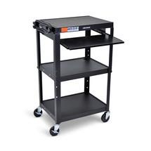 Třívrstvý nastavitelný kancelářský a souborový vozík na složky s rozšiřitelným zásobníkem na klávesnici