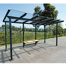 Überdachung aus Glas und Stahl. Grundeinheit