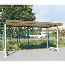 Überdachung mit Flachdach, Grund-/Anbaufeld, ein- oder doppelseitig