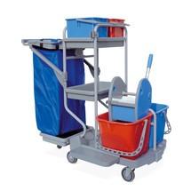 Úklidový vozík Harema®, 4kbelíky, splastovou odkládací plochou