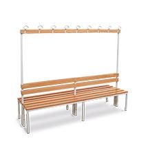 Umkleidesitzbank BASIC doppelt mit Holzlatten + Garderobe. Länge bis 2m