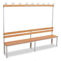 Umkleidesitzbank BASIC mit Holzlatten + Garderobenleiste. Länge bis 2000 mm