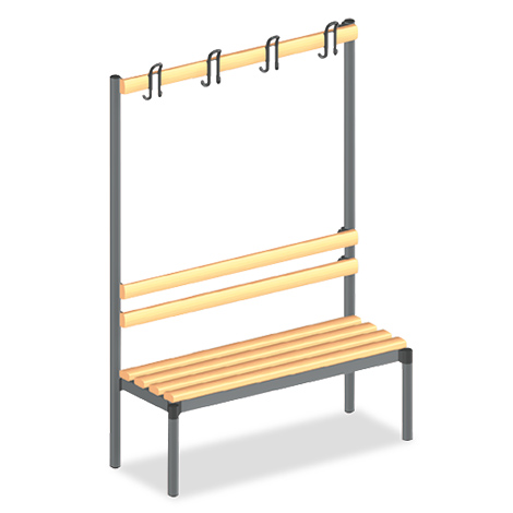 Umkleidesitzbank mit Holzleisten + Garderobenleiste. Länge 1040/1540mm