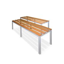 Umkleidesitzbank mit Holzleisten. Länge 900 bis 1600 mm.