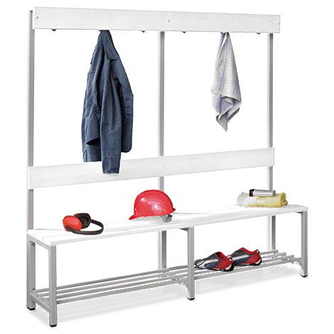 Umkleidesitzbank PAVOY aus Kunststoff. Kleiderhaken + Rost, Länge bis 2m