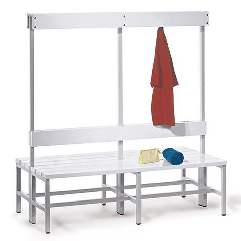 Umkleidesitzbank PAVOY doppelseitig aus Kunststoff + Haken. Länge bis 2m