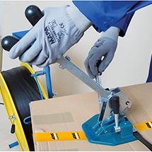 Umreifungsset mit Kunststoffband + verstellbarem Abrollwagen
