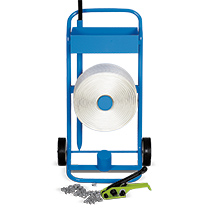 Umreifungsset mit Polyester-Kraftband + Abrollwagen
