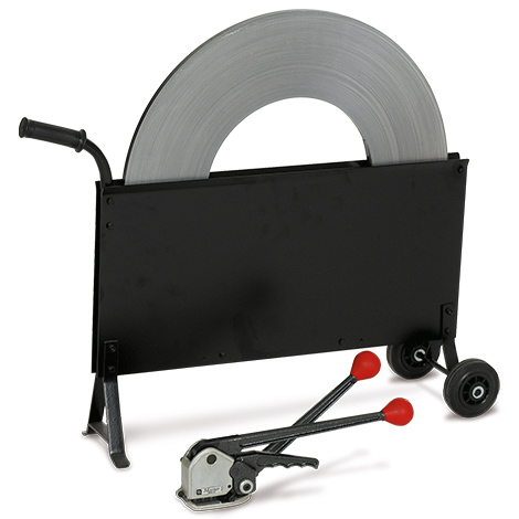 Umreifungsset mit Stahlband + Abrollwagen. Hülsenlos