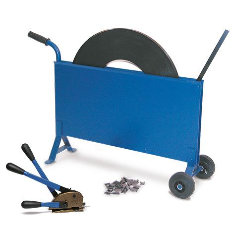 Umreifungsset mit Stahlband + Abrollwagen. Inkl. Abschneider