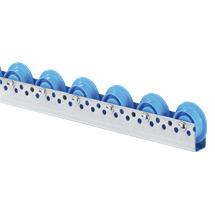 Universal-Rollenschiene. Kunststoffrollen mit Spurkranz. Teilung 75 - 100 mm
