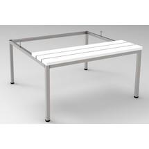 Unterbau-Sitzbank für Garderobenschrank aus Edelstahl