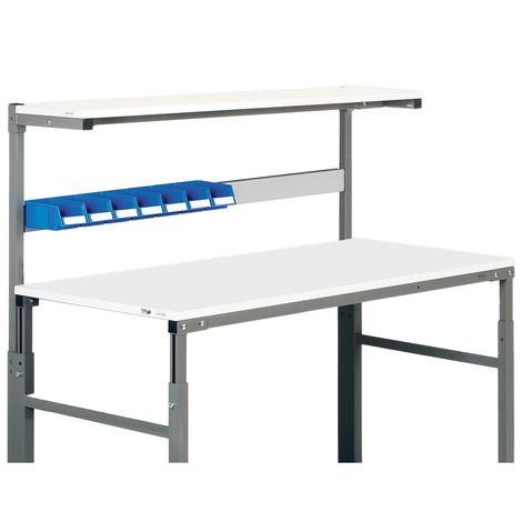 Upphängningsskena för arbetsbord med påbyggnadshylla